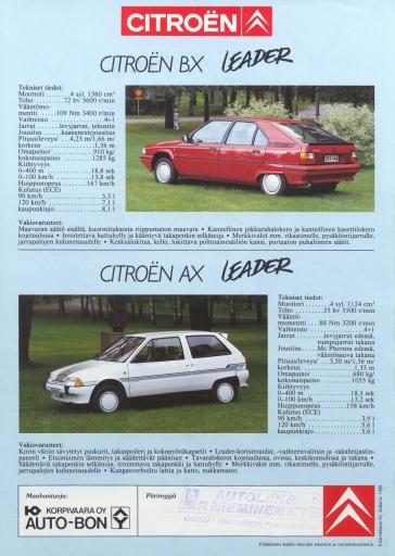 AX ja BX Leader tekniset tiedot v. 1988.