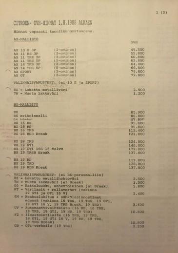 AX ja BX hinnasto 1.8.1988 alkaen