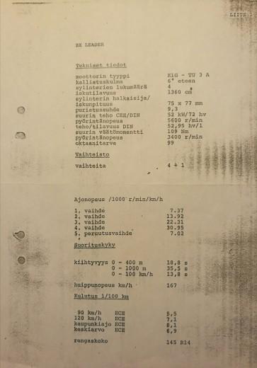 BX Leader tekniset tiedot 1988