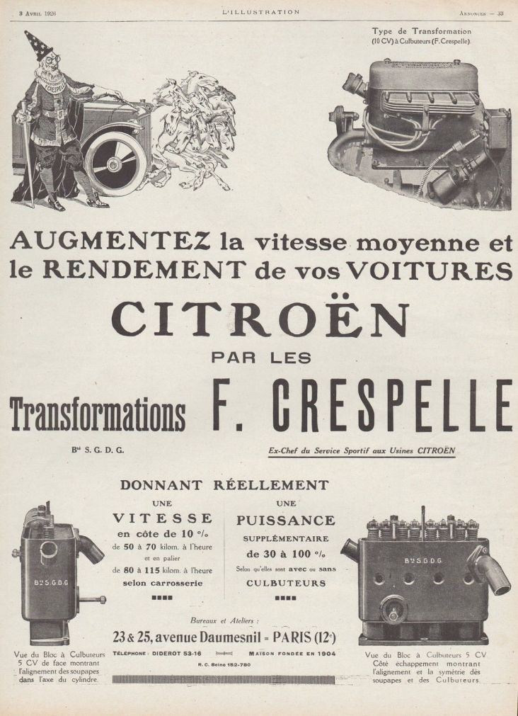 F.Crespellen lehtimainos vuodelta 1926.