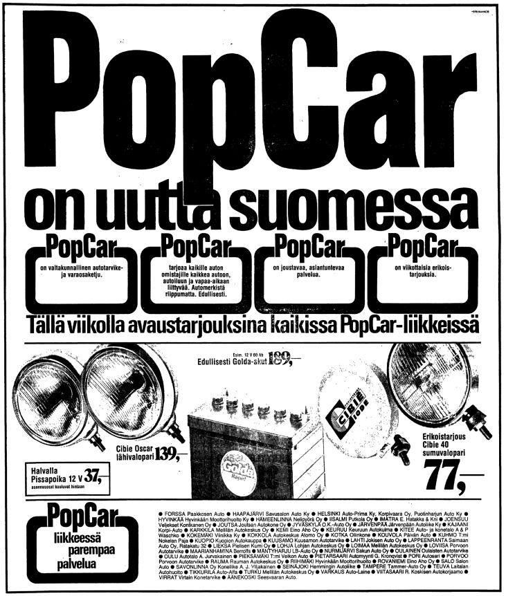 PopCar ilmoitus Hesarissa 6.11.1974.