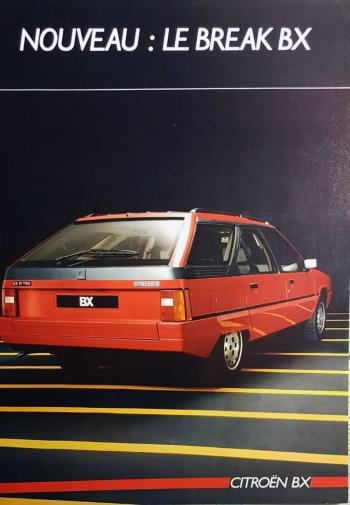 Citroën BX 19 TRS Break Ranskan myyntiesitteen kansikuvassa.