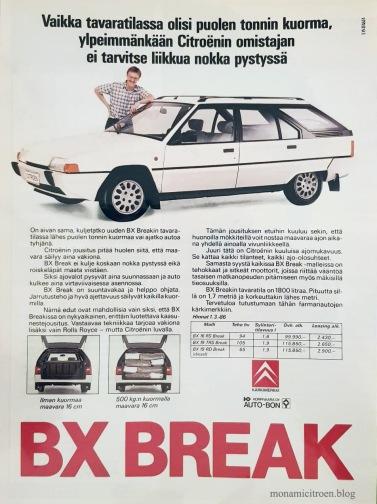 Suomalaista BX Break -mainontaa vuodelta 1986.